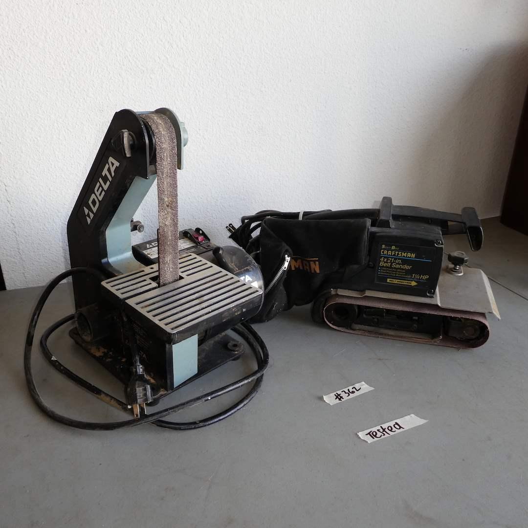 """Lot # 362 - Delta 1"""" Belt Sander and Craftsman 4""""x 21"""" Belt Sander( Both Tested) (main image)"""