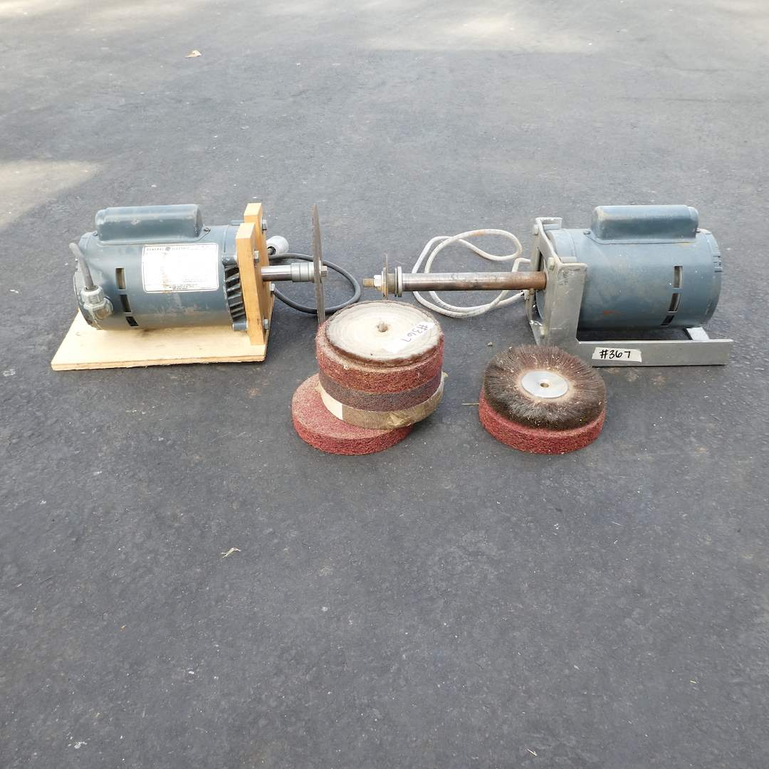 Lot # 367 - Two General Electric 3/4HP Single Phase Electric Motors w/ Shafts (main image)