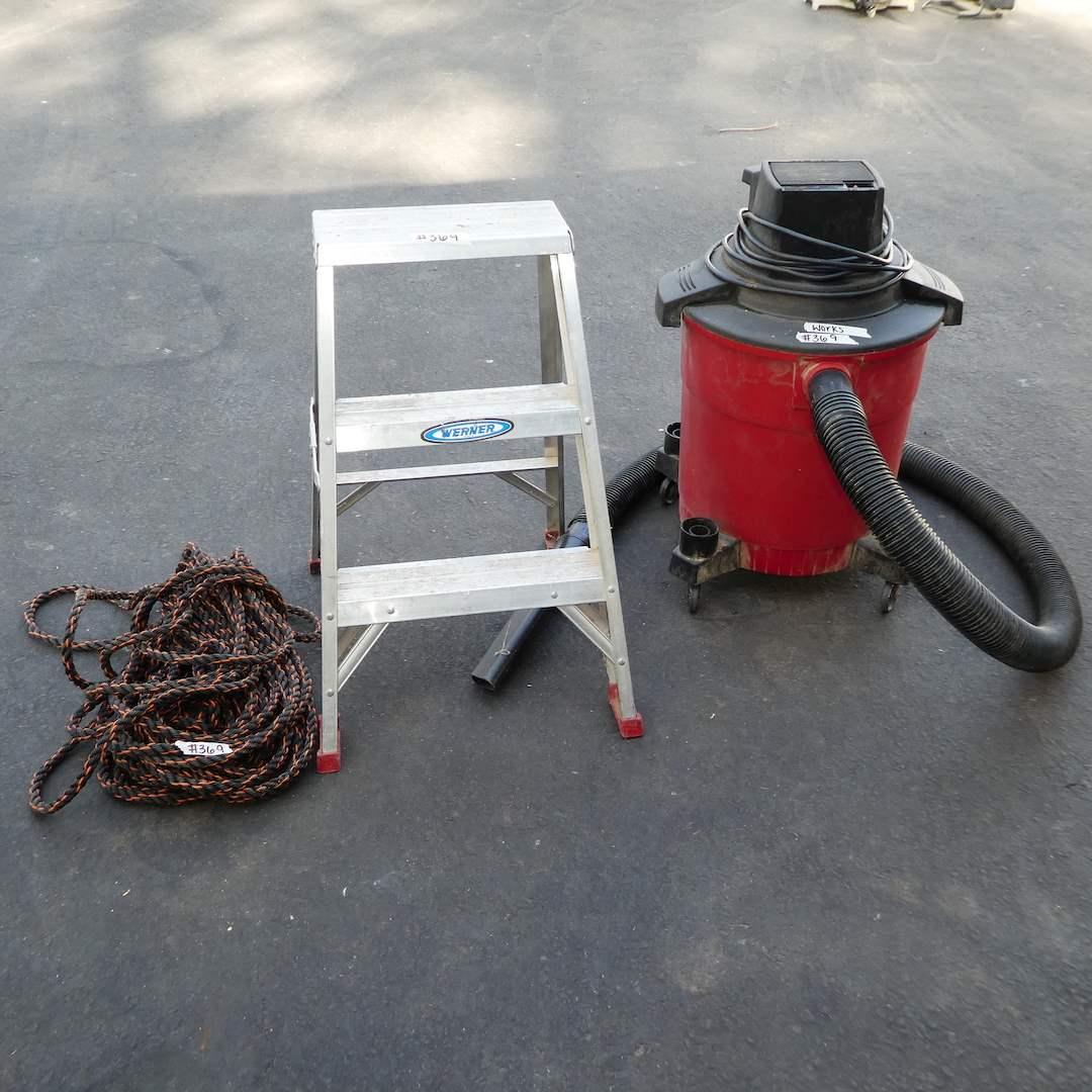 Lot # 369 - Shop Vac, Werner Aluminum Step Ladder and Rope (main image)