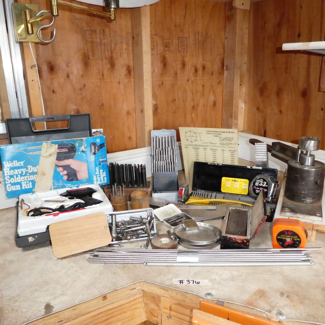 Lot # 376 - Tool Lot - Soldering Gun,  Router Bits, Gauge & More (main image)