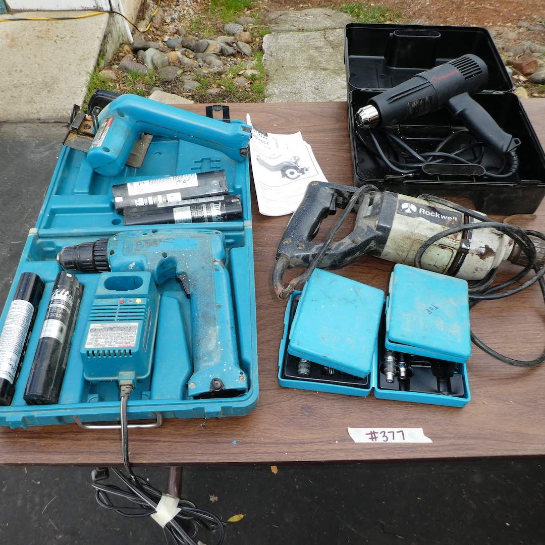 Lot # 377 -  Dalton Torque Limiter, Makita Drill & Circular Saw (Batteries Dead) and Rockwell Reversing Drill (Cord Has Damage) (main image)