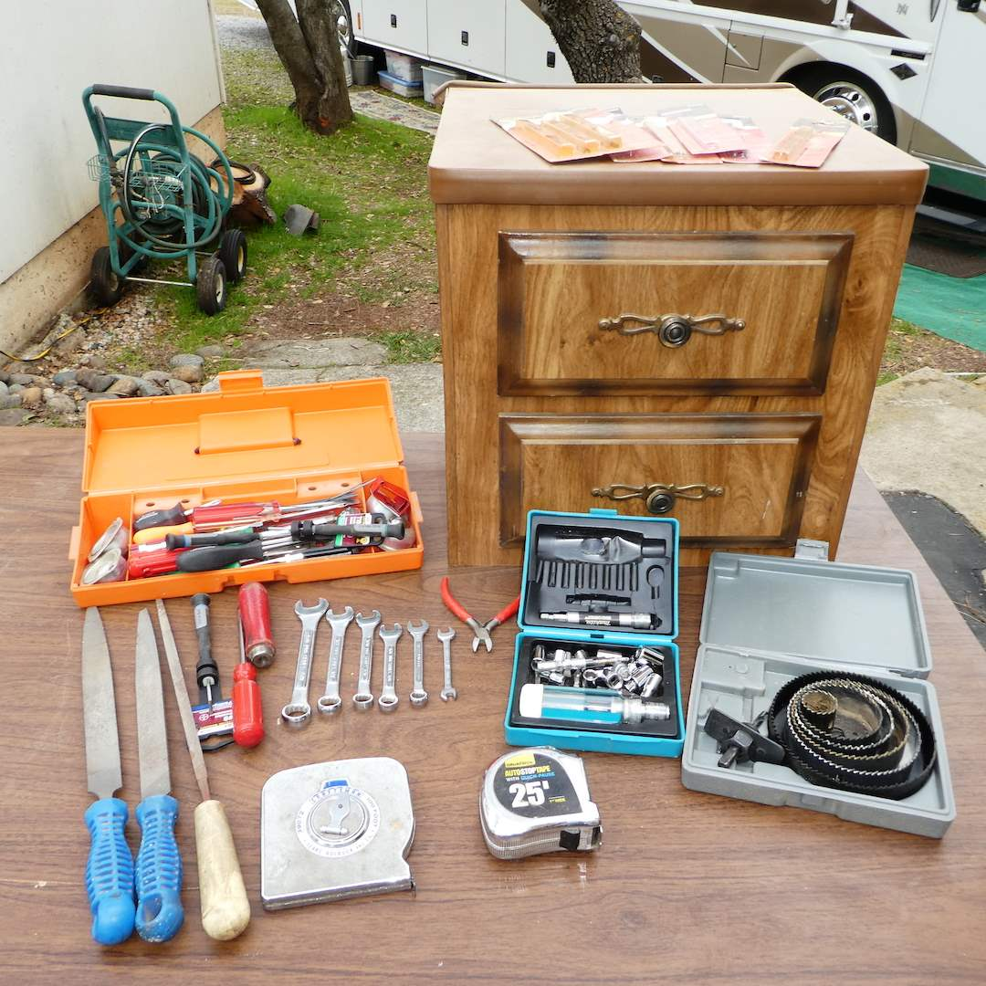 Lot # 378 - Variety of Tools and Two Drawer Table Top Storage (main image)
