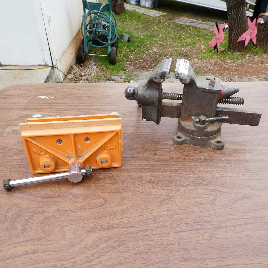Lot # 379 - Rock Island Bench Top Vise and Pony Woodworkers Vise (main image)