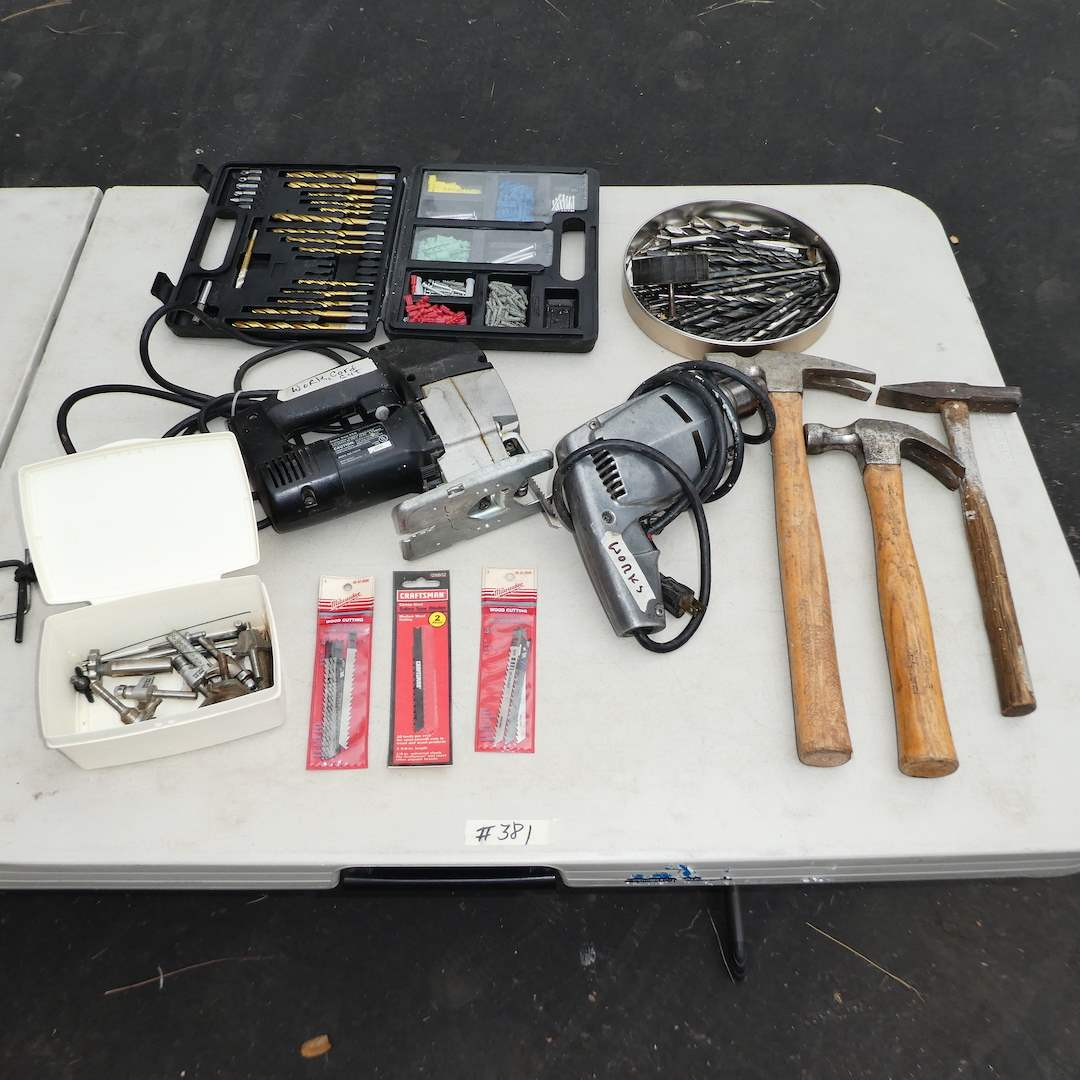 Lot # 381 - Drill with and Variety of Bits and Craftsman Sabre Saw (See Photos for Details) (main image)