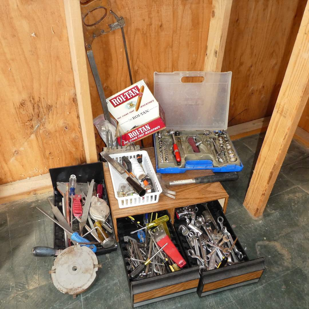Lot # 388 - Variety of Tools (Wrenches, Files, Allen Wrenches, Saw and More) (main image)