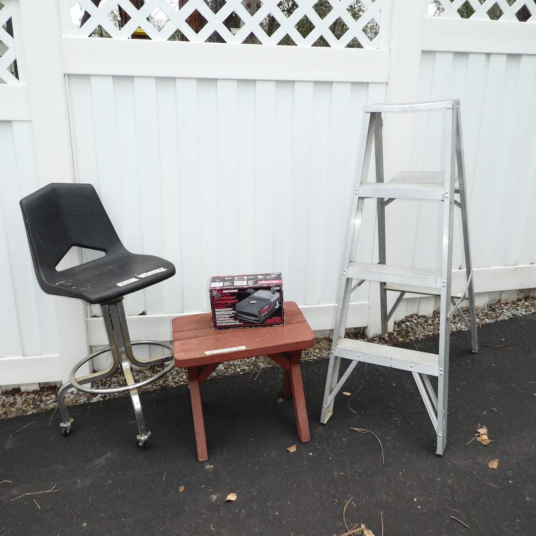 Lot # 391 - Adjustable Shop Chair, 4 Ft. Aluminum Ladder, Air Inflator Compressor and Outdoor Side Table (main image)