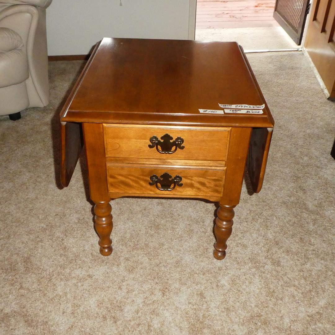 Lot # 100 - Vintage Ethan Allen Heirloom Nutmeg Maple Drop Leaf Pembroke End Table (dovetailed drawers) (main image)