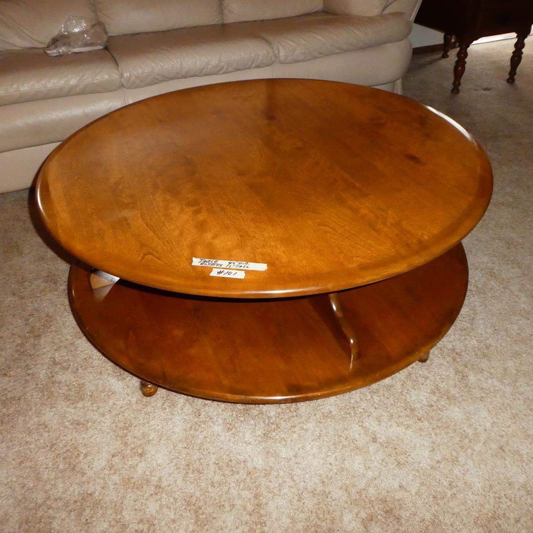 Lot # 101 - Vintage Solid Wood Round Rotating Coffee Table (Lazy Susan Style) (main image)