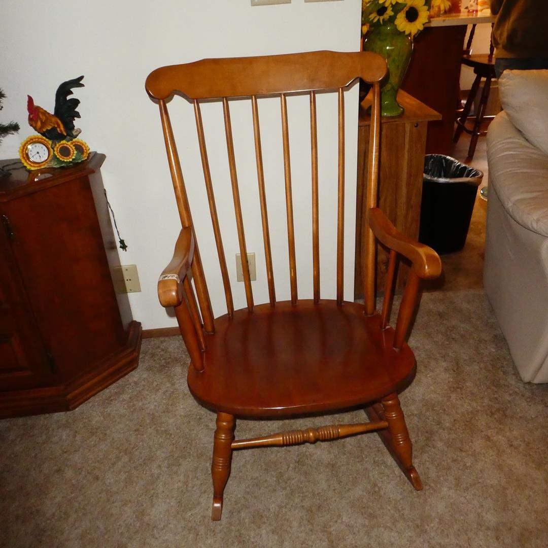 Lot # 102 - Vintage Wooden Spindle Back Rocking Chair (main image)