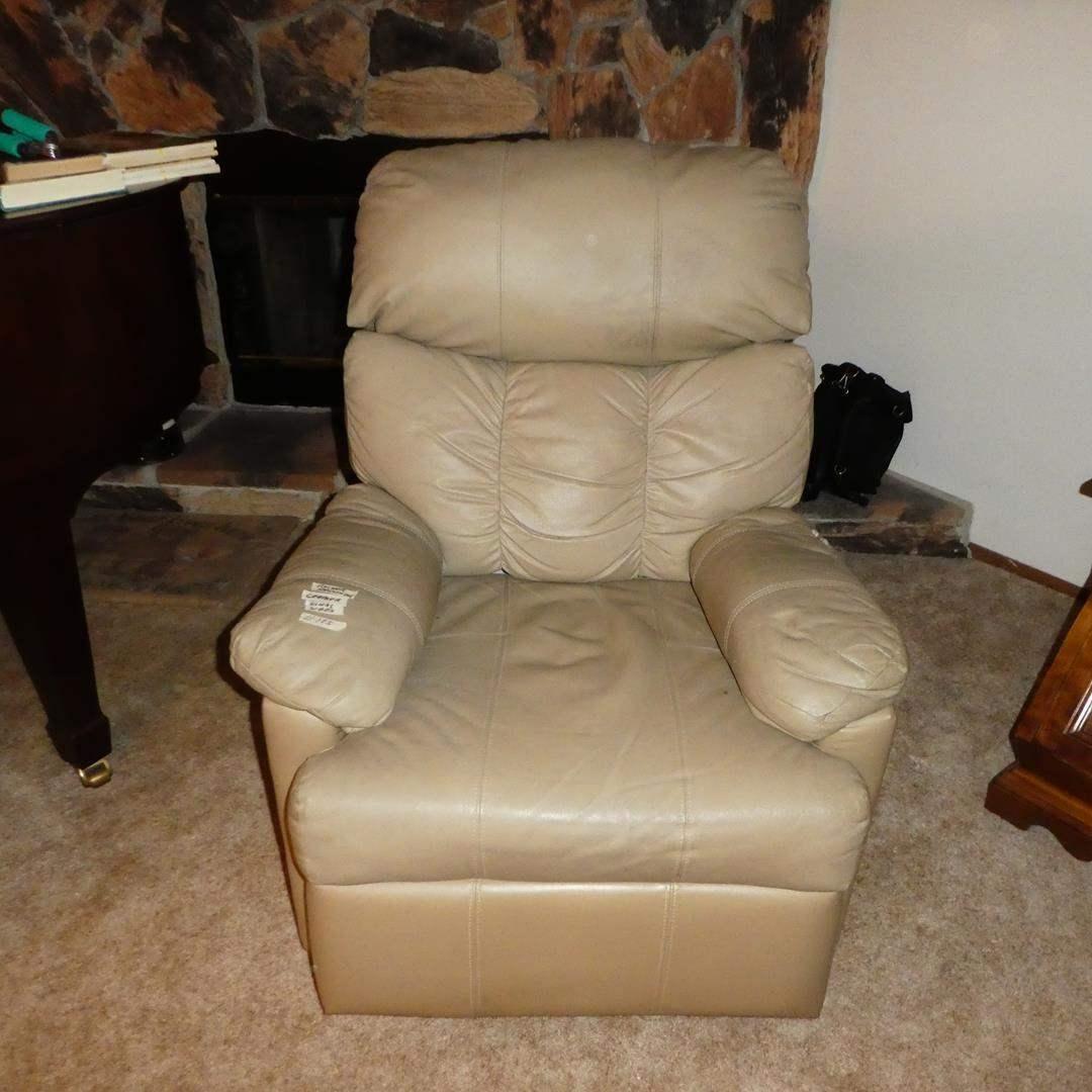 Lot # 105 - 'Ashley Furniture' Beige Leather Rocker Recliner (main image)