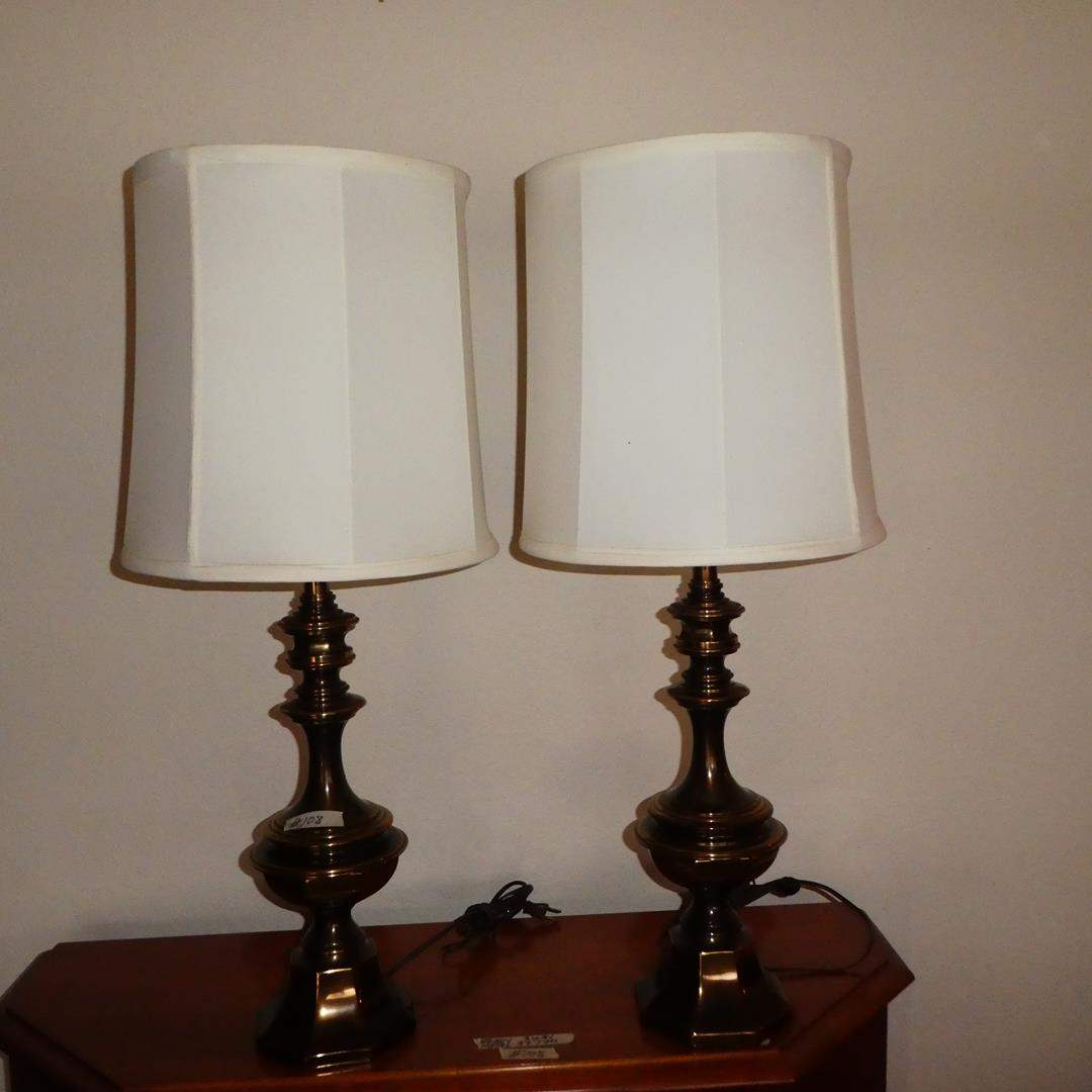 Lot # 108 - Pair Heavy Metal Brass Finish 3-Way Table Lamps (main image)