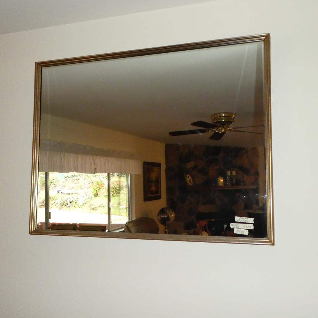 Lot # 109 - Wood Framed Beveled Glass Wall Mirror (main image)