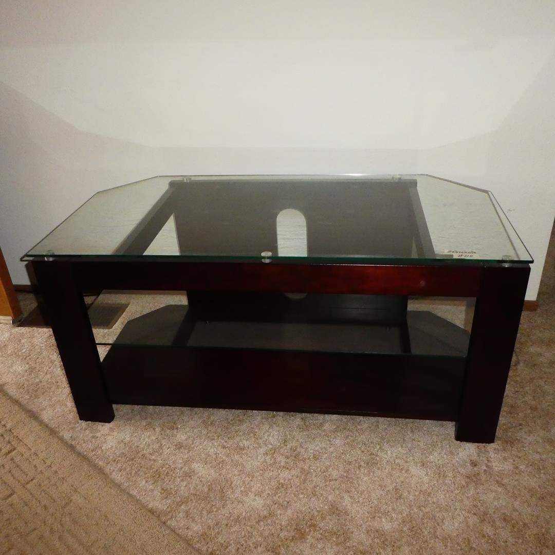 Lot # 110 - Wood & Glass TV Stand (main image)