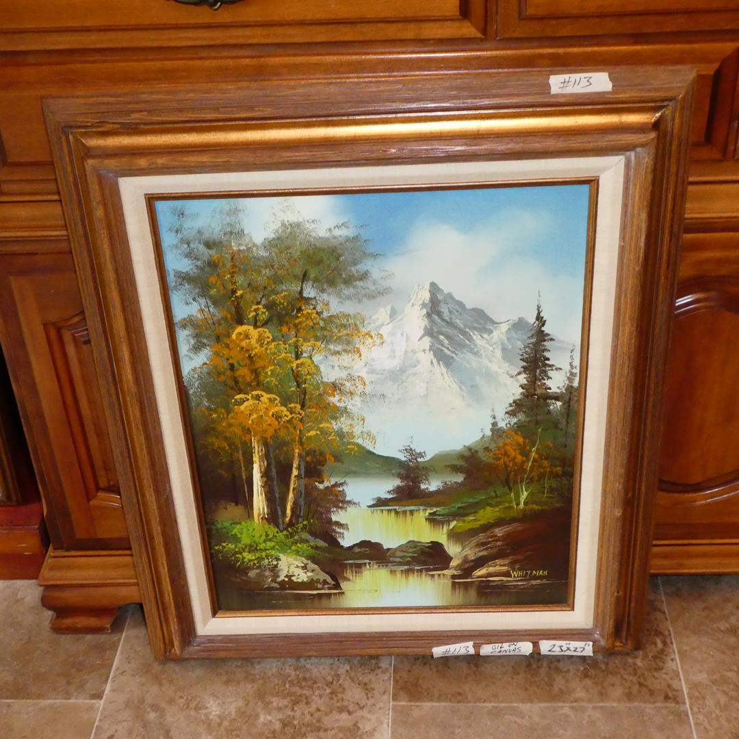 Lot # 113 - Framed Vintage Mountain Scene Oil on Canvas by Whitman (main image)