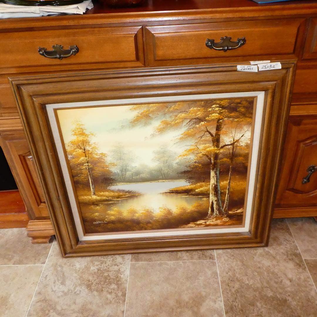 Lot # 114 - Framed Vintage Landscape Scene Oil on Canvas by Cantrell (main image)