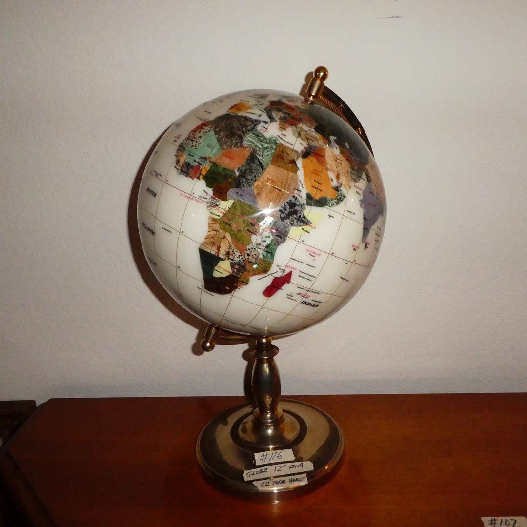 Lot # 116 - Jewel Stone World Globe (main image)