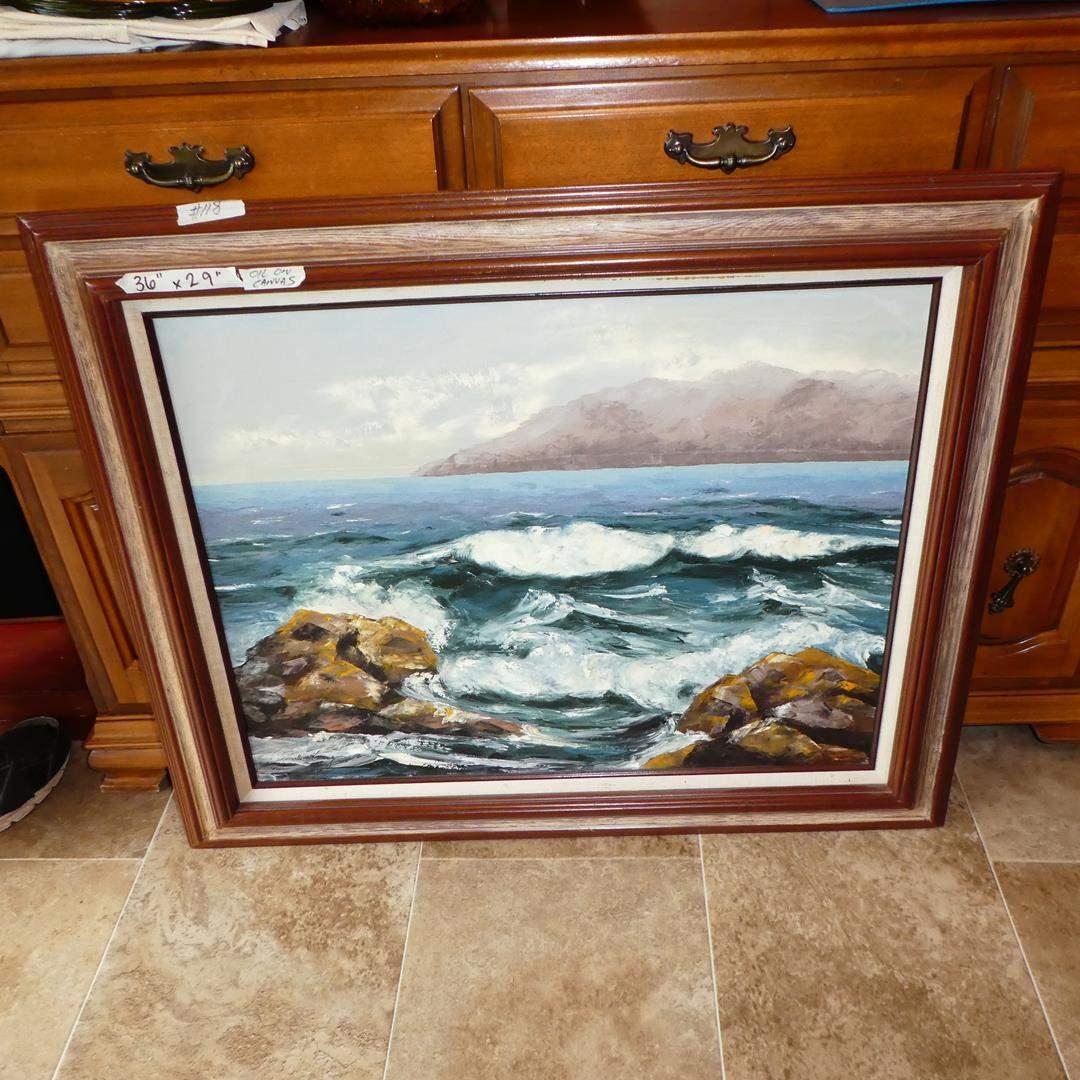 Lot # 118 - Large Framed Signed Ocean Scene Oil on Canvas (main image)