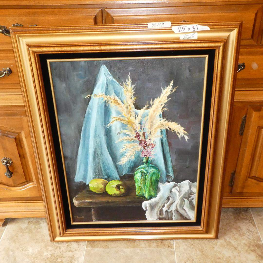 Lot # 119 - Framed Oil on Board by V. Russell (main image)