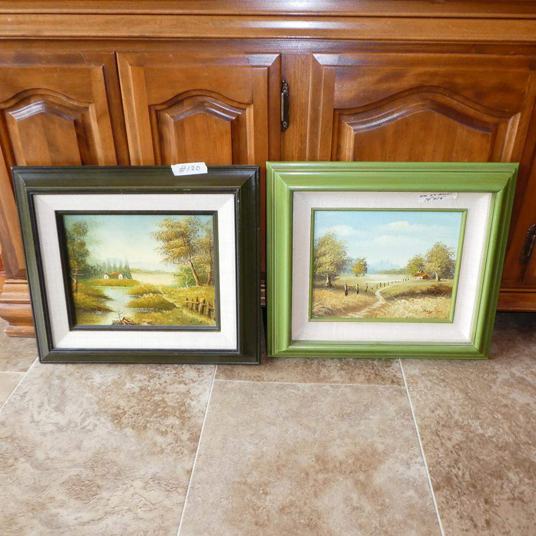 Lot # 120 - Two Framed Signed Oil on Board Paintings (main image)