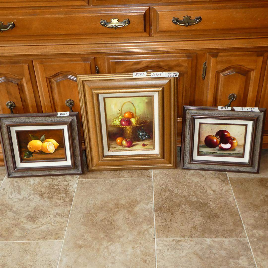 Lot # 123 - Three Framed Signed Oil on Canvas Fruit Paintings (main image)