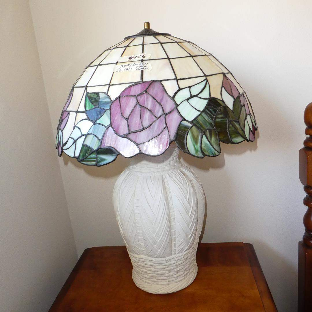 Lot # 126 - Stained Glass Table Lamp w/3-Way Switch (main image)