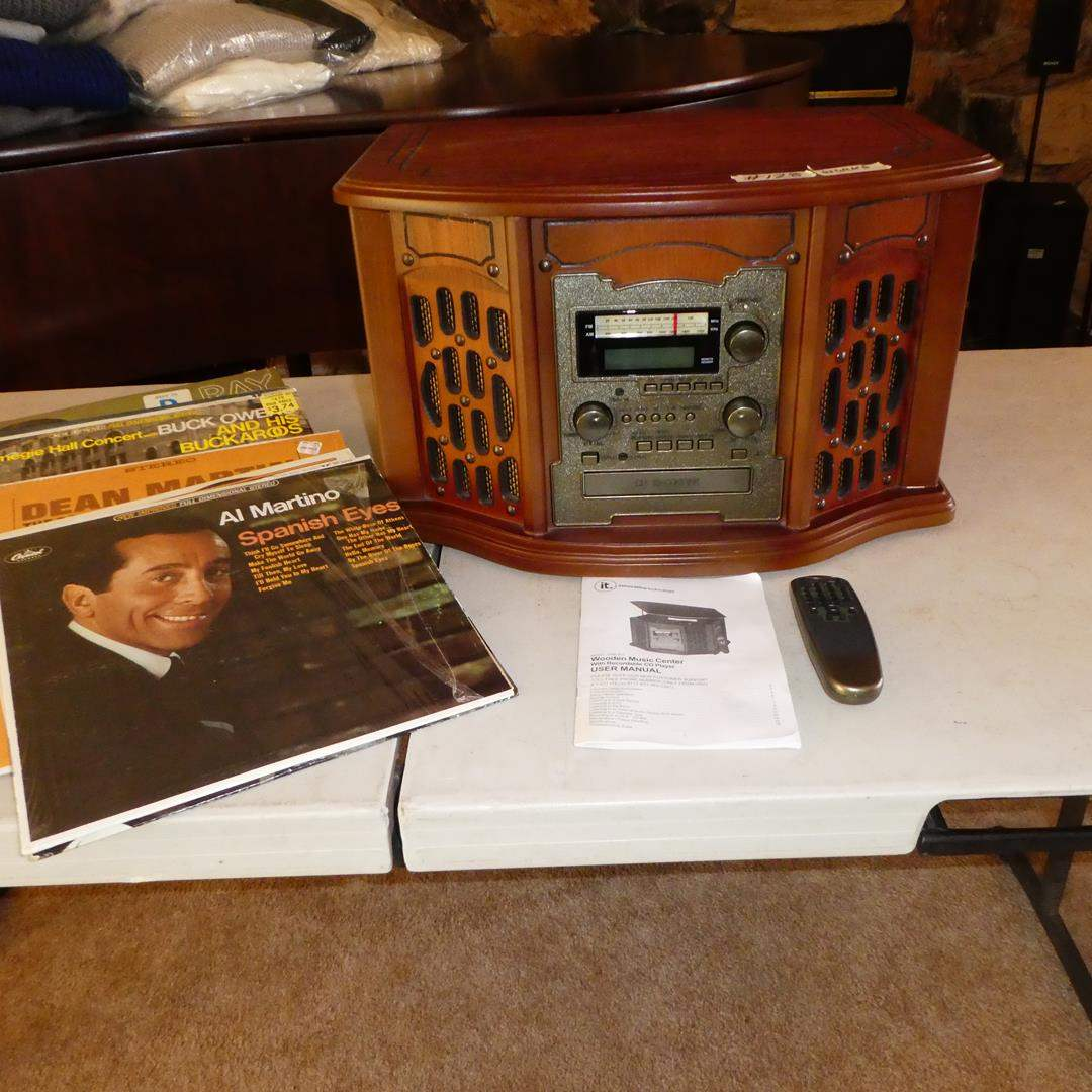 Lot # 128 - Wooden Music Center w/Recordable CD Player, Remote, Manual & Records (main image)