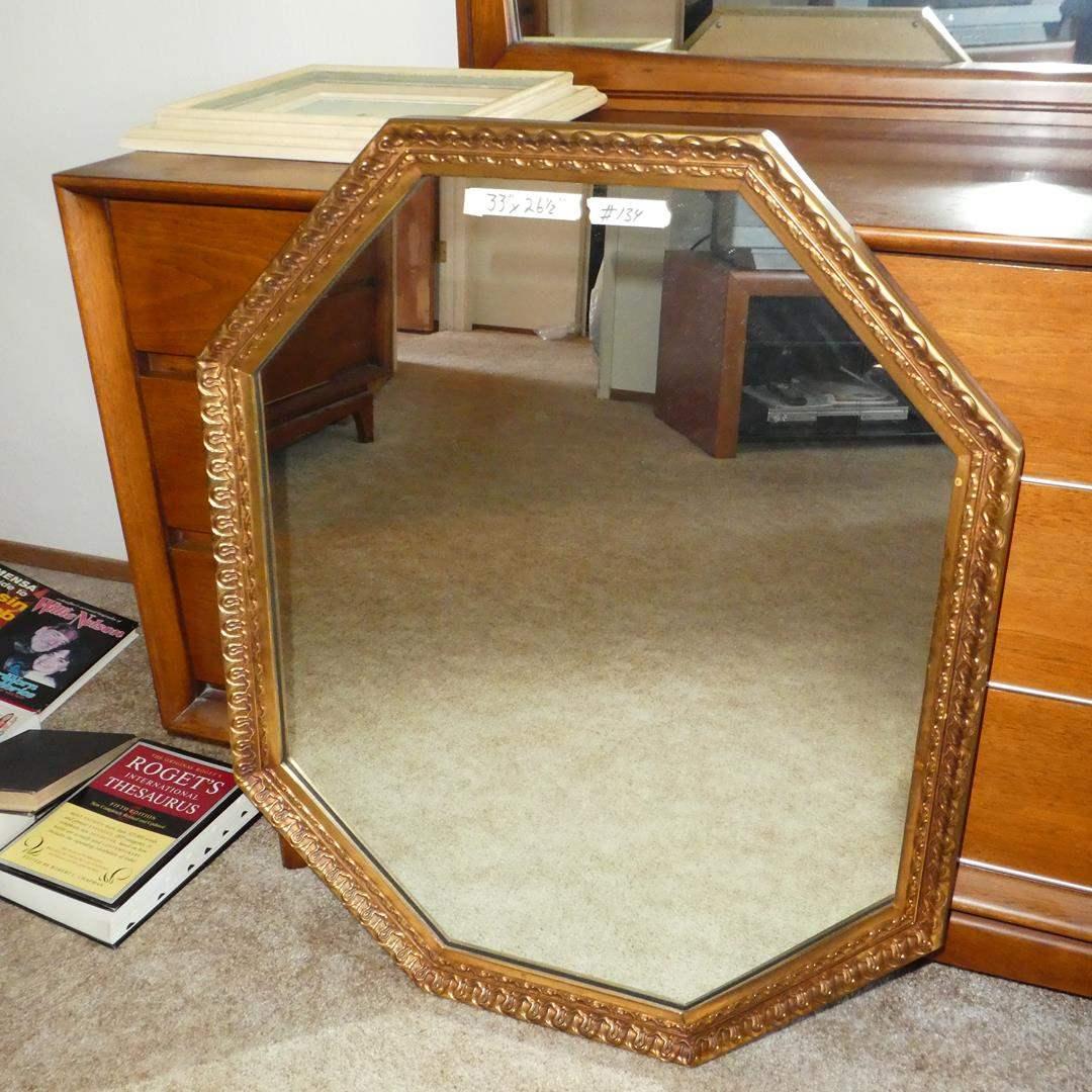 Lot # 134 - Vintage Wood Framed Octagon Shaped Wall Mirror (main image)