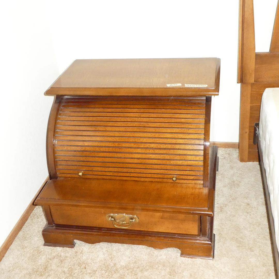 Lot # 140 - Vintage 'Bassett' Roll Top End Table / Nightstand (main image)