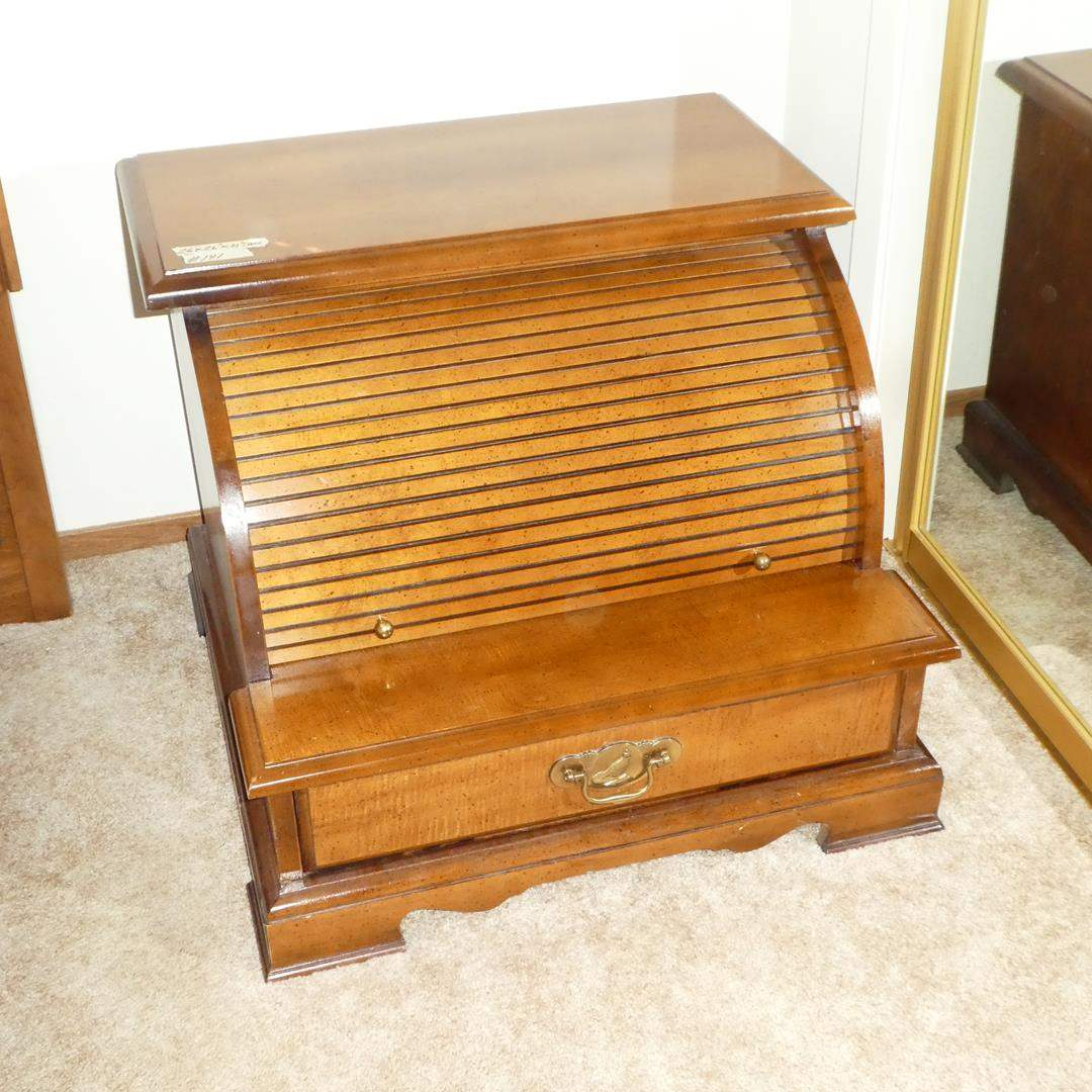 Lot # 141 - Vintage 'Bassett' Roll Top End Table / Nightstand  (main image)
