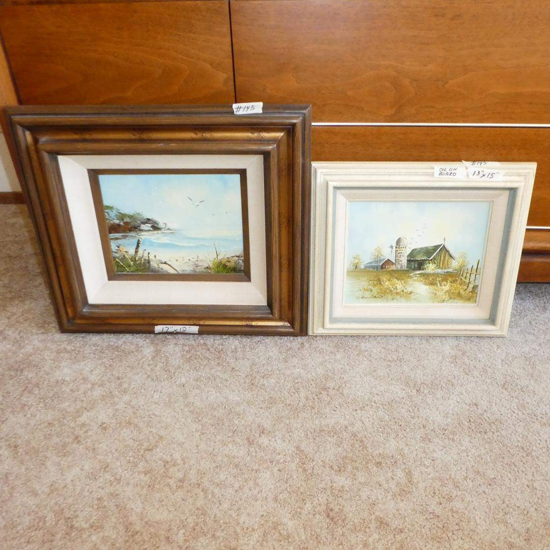 Lot # 145 - Two Framed Signed Original Oil on Board Paintings  (main image)