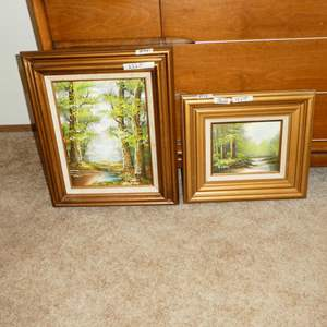 Auction Thumbnail for: Lot # 146 - Two Framed Signed Oil on Canvas Scenic Paintings