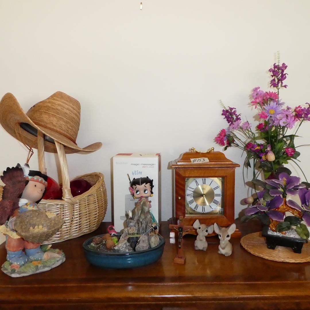 Lot # 153 - Figurines, Stone Flowers, Quartz Clock Jewelry Box, Magic Message Alarm Clock & Glass Floats (main image)