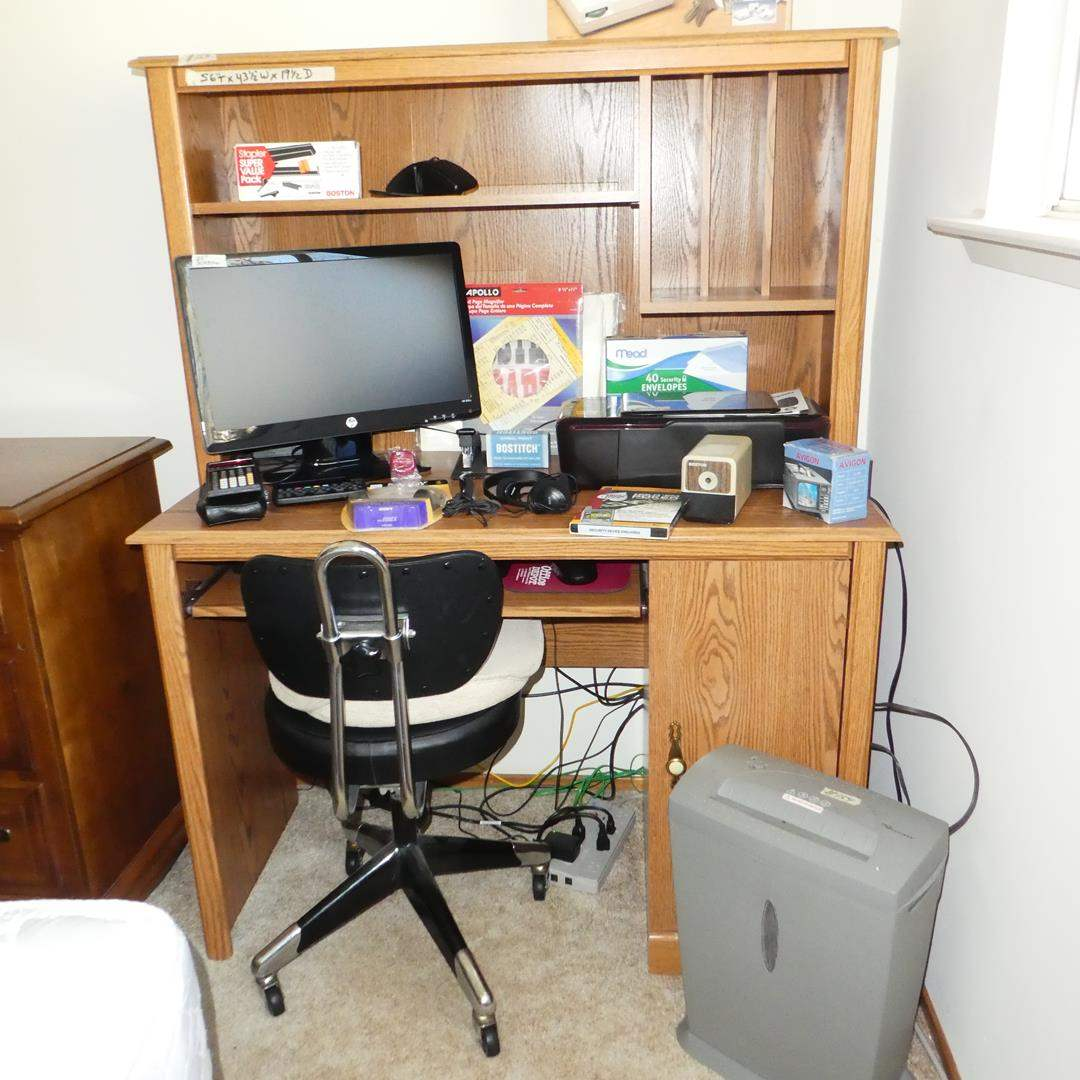 Lot # 154 - Computer Desk, Chair, Speakers, Computer Accessories & Office Supplies (main image)