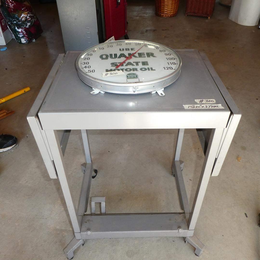 Lot # 300 - Vintage 'Quaker State' Motor Oil Thermometer & Metal Drop Leaf Rolling Cart (main image)