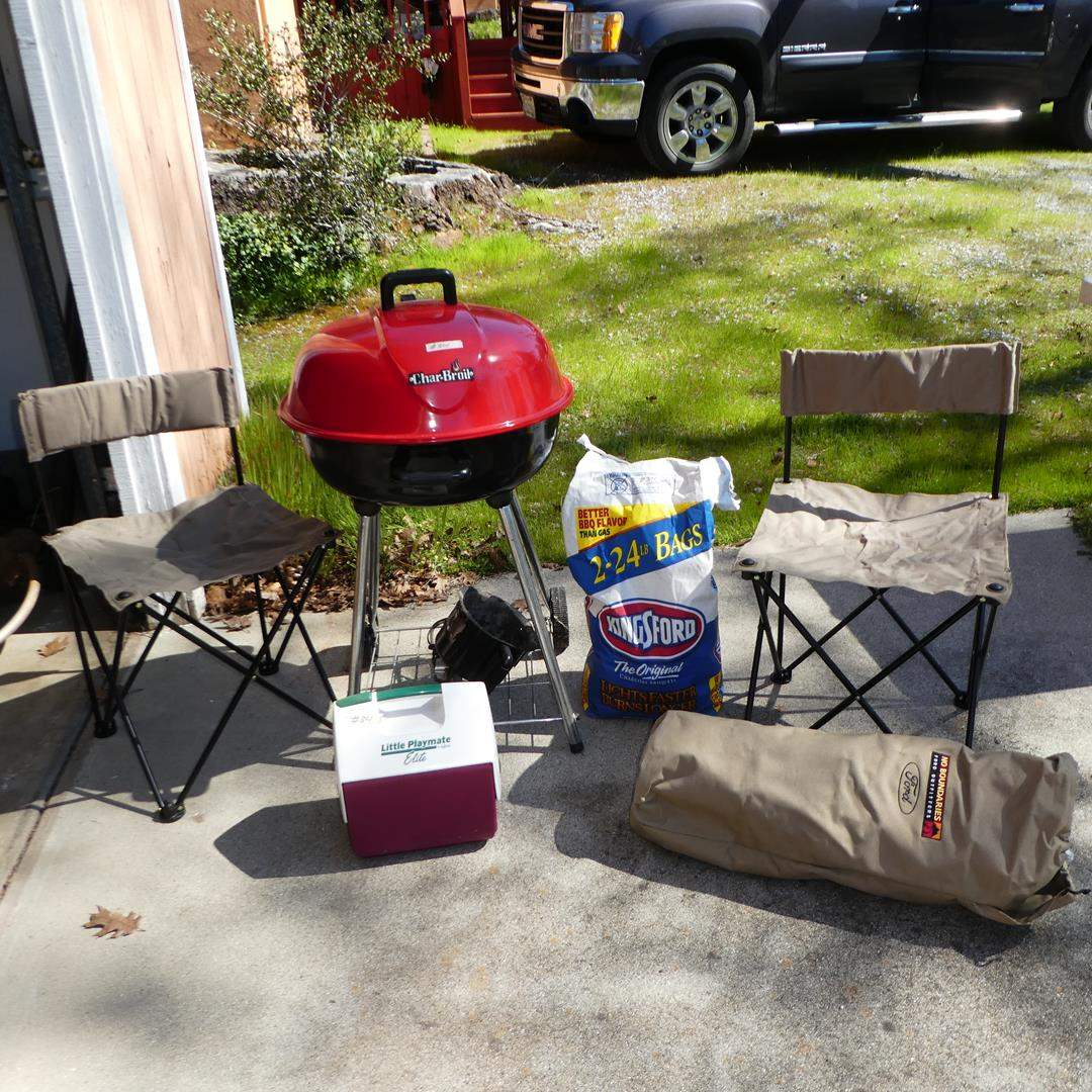 Lot # 301 - Char-Broil Charcoal Grill, Ice Chest & Pair Folding Chairs (main image)