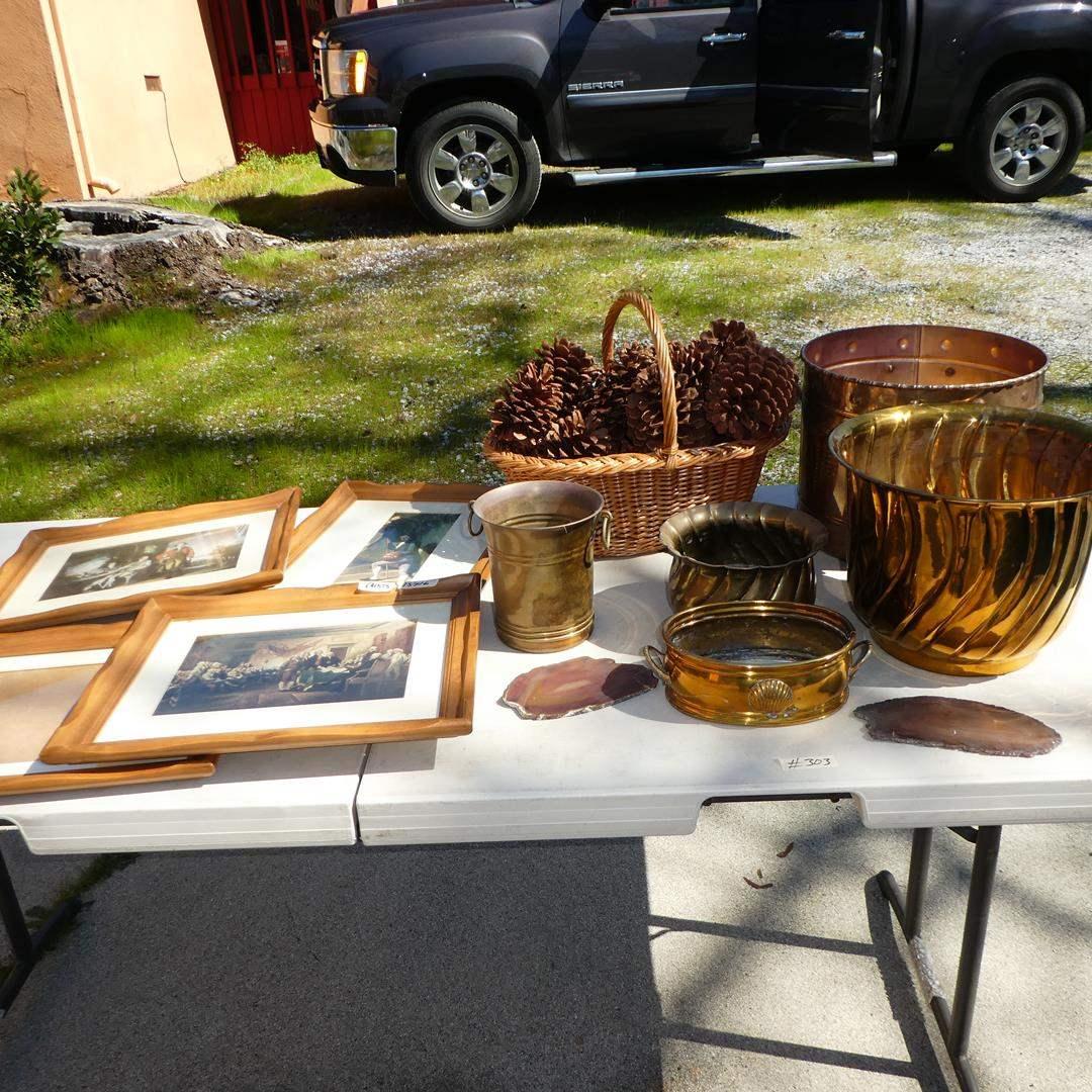 Lot # 303 - Vintage Framed Prints, Brass Planters & Pinecones (main image)