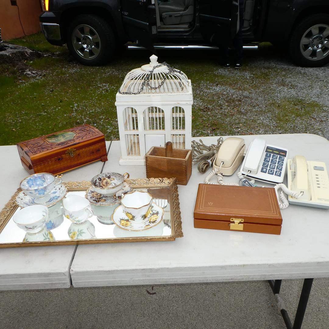 Lot # 305 - Vintage Jewelry Boxes, Push Button Telephones, Wooden Press, Decorative Bird House & Teacups (main image)