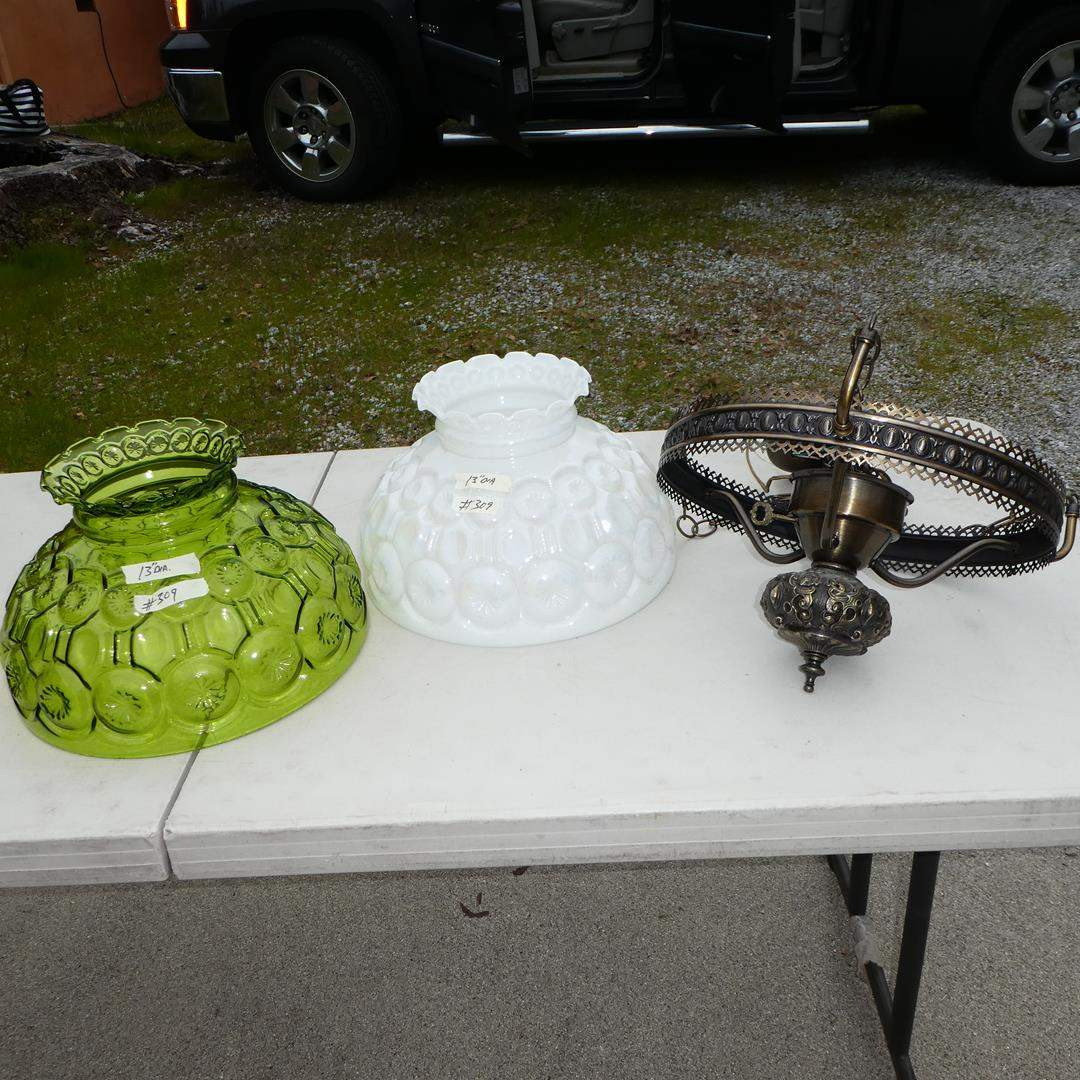 Lot # 309 - Vintage Green & Opalescent Glass Moon & Stars Lamp Shades & Metal Fixture (main image)