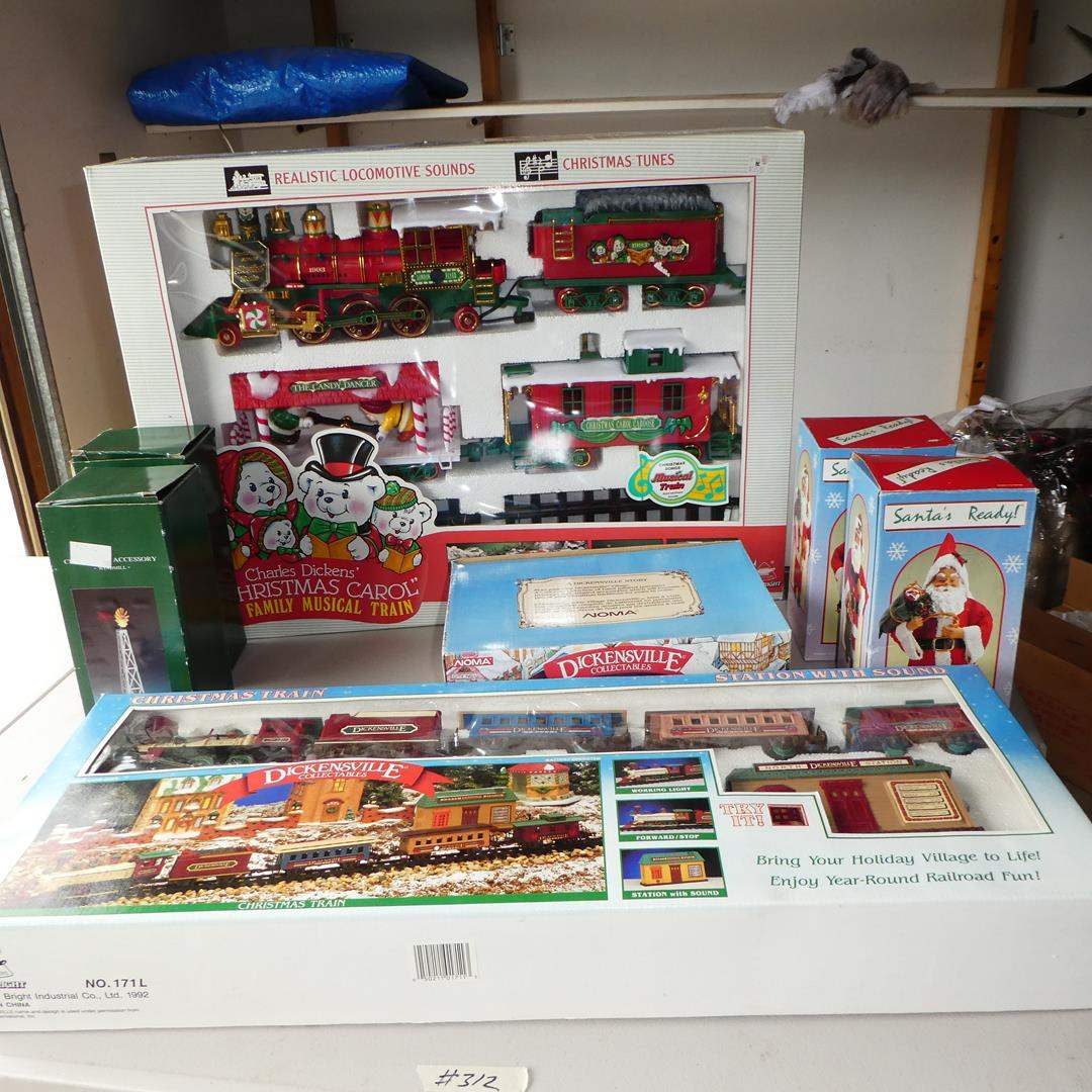 Lot # 312 - Dickensville Christmas Train, Christmas Windmill Accessories, Santa's & Dickens Musical Train (NIB) (main image)