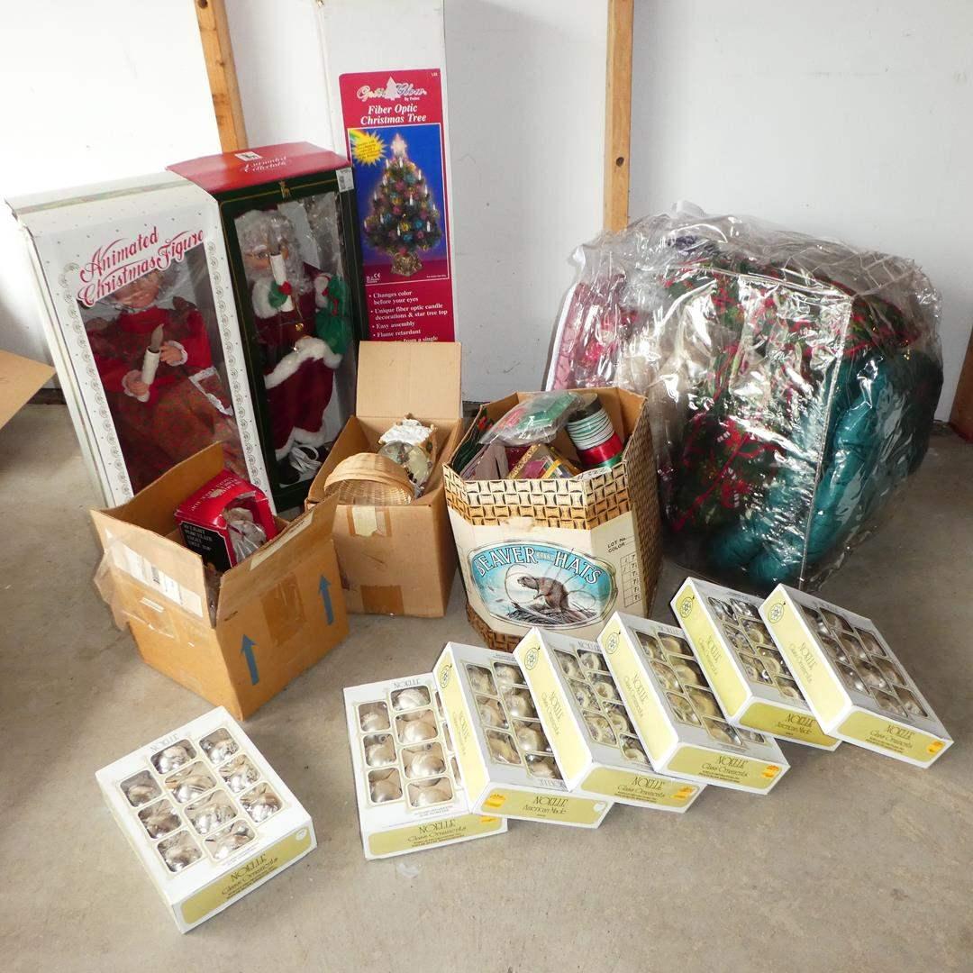 Lot # 322 - Animated Christmas Figures, Fiber Optic Christmas Tree, Ornaments, Cushions & Ribbon (main image)