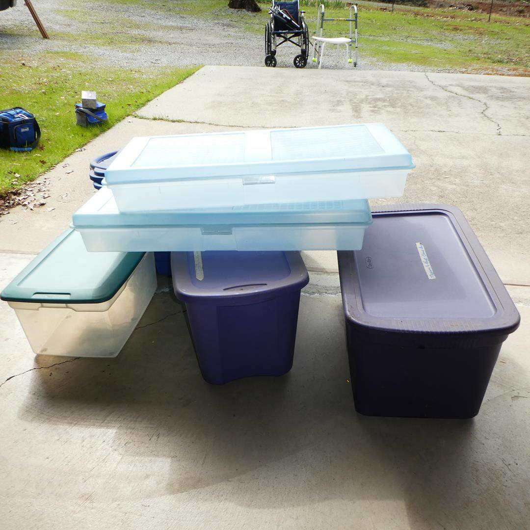 Lot # 329 - Six Storage Tubs w/Lids (main image)
