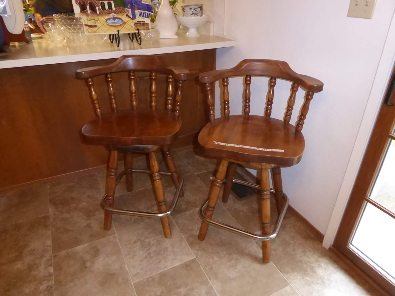 Lot # 26 - Two Matching Wooden Swivel Bar Stools  (main image)