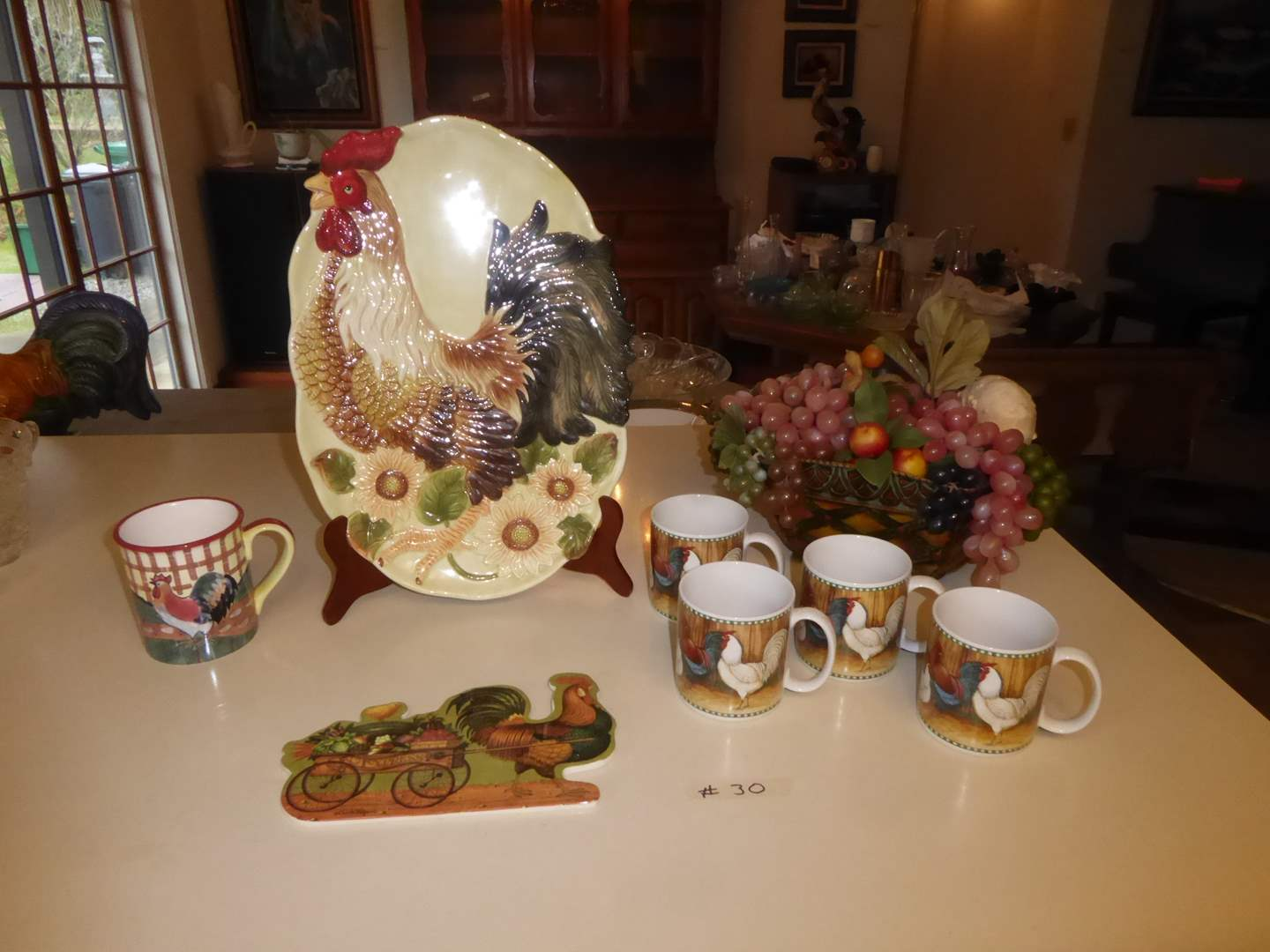 Lot # 30 - Ceramic Rooster Plate & Stand, Rooster Mugs & Other Decor  (main image)