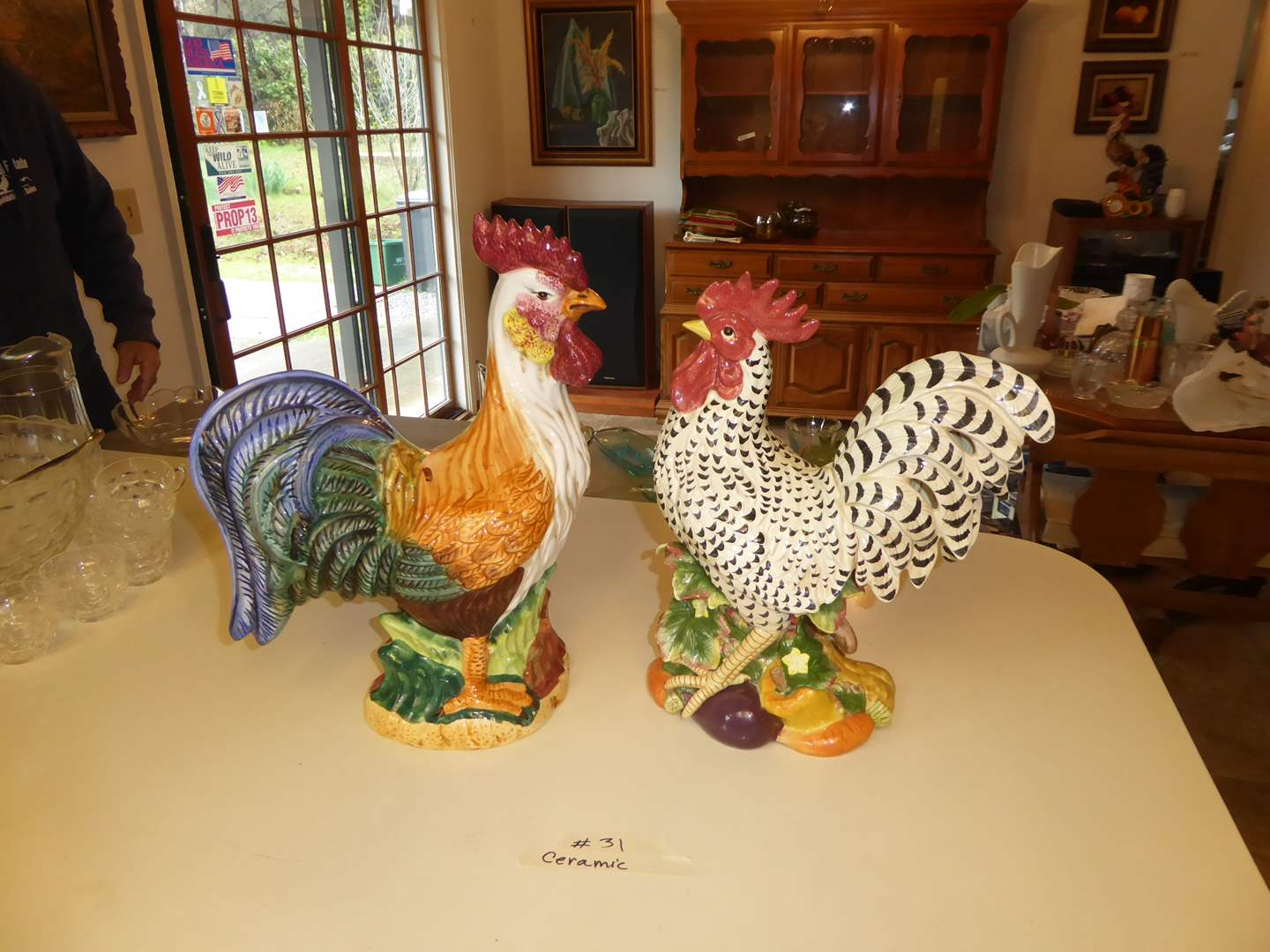 Lot # 31 - Fitz & Floyd Ceramic Rooster & Three Hands Corp Rooster  (main image)