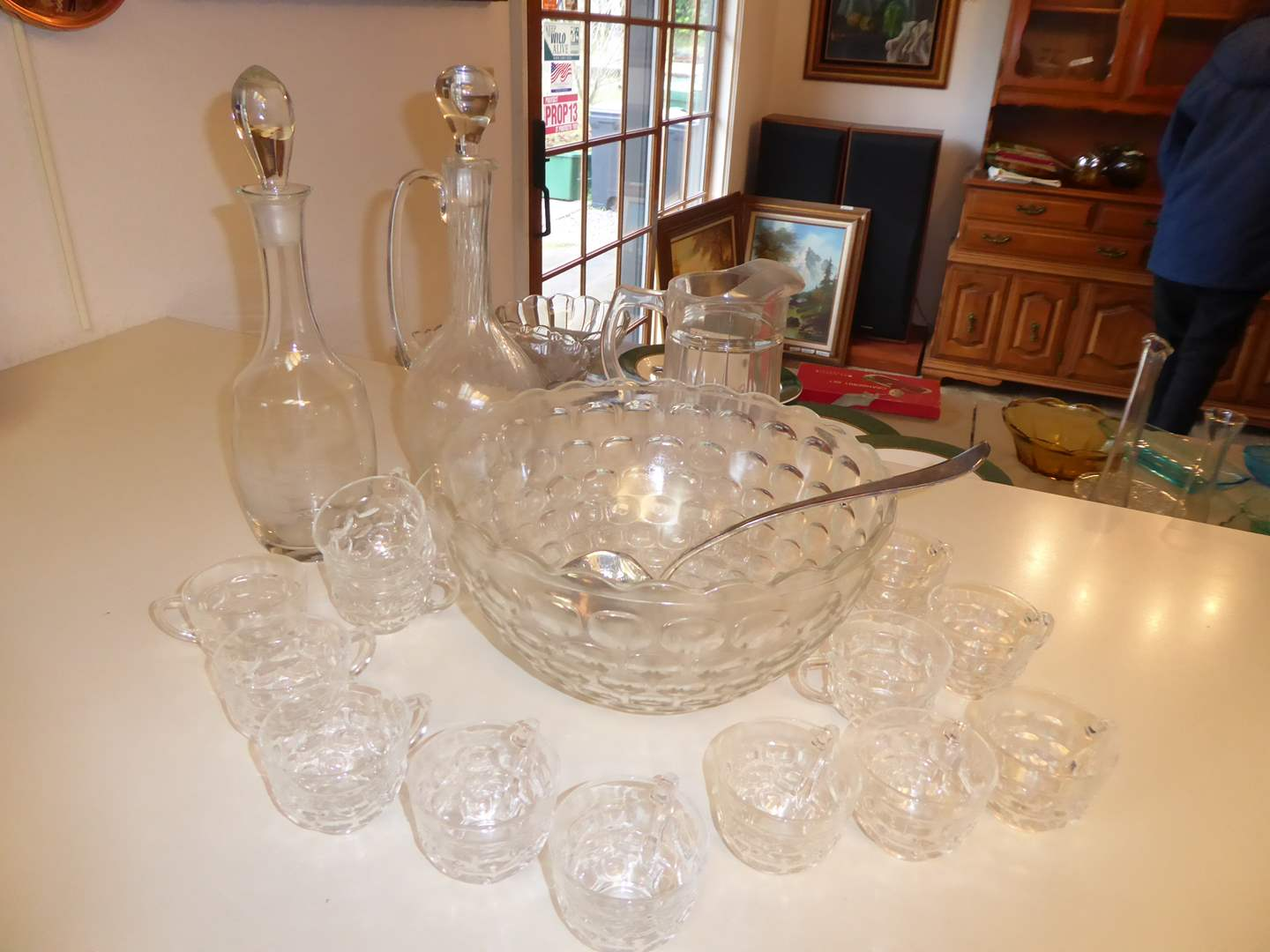 Lot # 32 - Fostoria Punch Bowl & Cups & Glass Decanters  (main image)