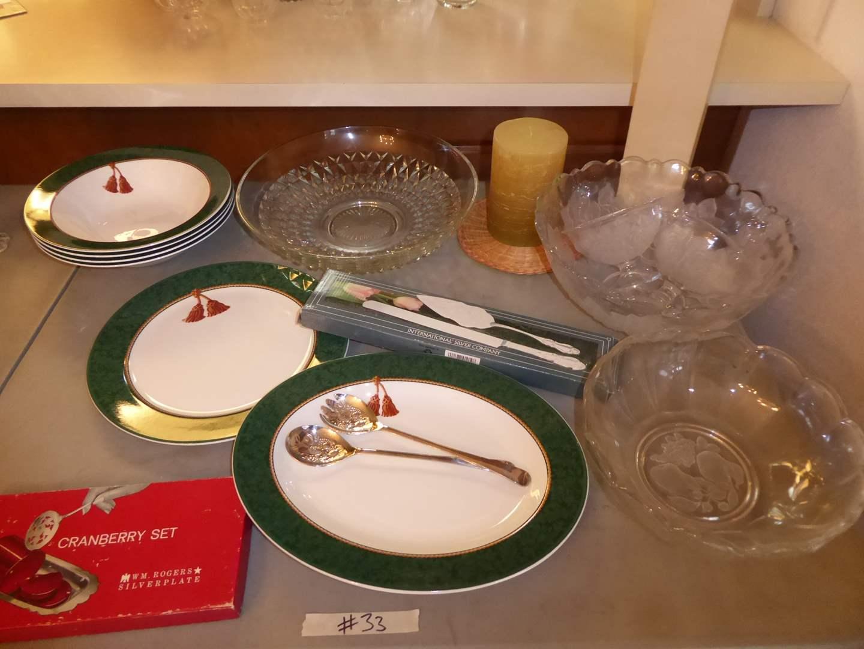 Lot # 33 - Hallmark Dishes, Serving Utensils & Glass Serving Plates (main image)
