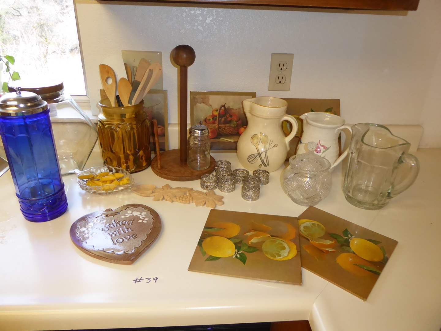 Lot # 39 - Pitchers, Glass Straw Holder, Corn Holders & More  (main image)