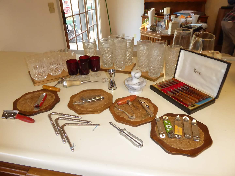 """Lot # 40 - Vintage """"Case"""" Steak Knife Set, Bar Glasses & Pitchers   (main image)"""