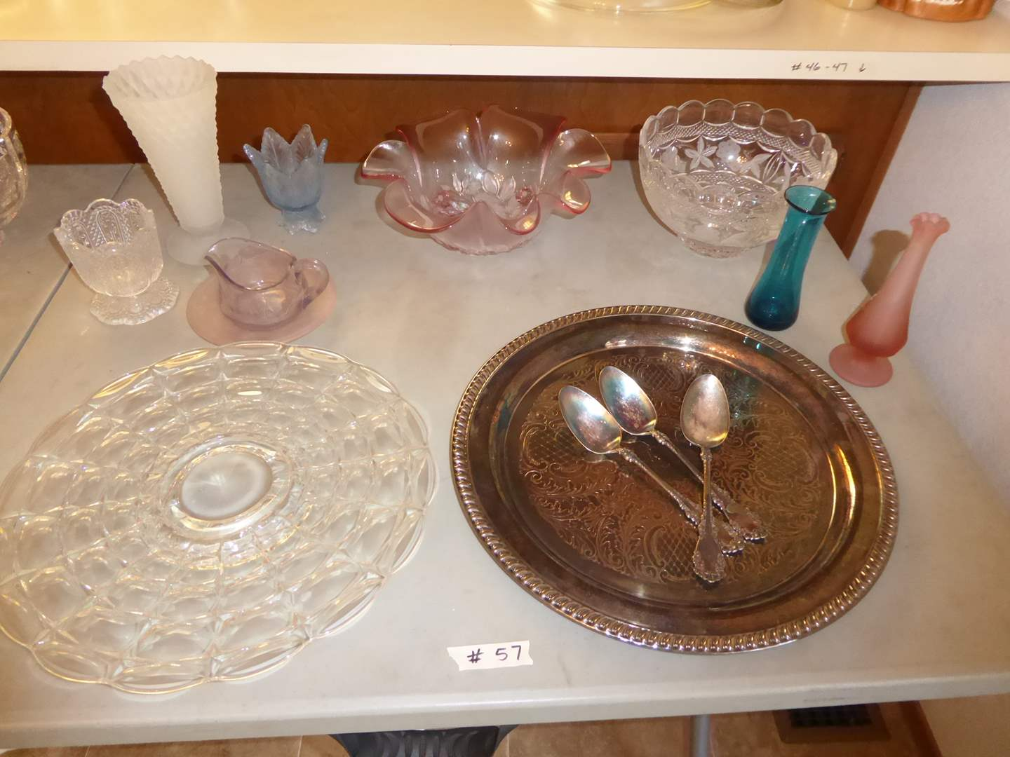 Lot # 57 - Frosted Glass, Clear Glass & Plated Silver Spoons  (main image)