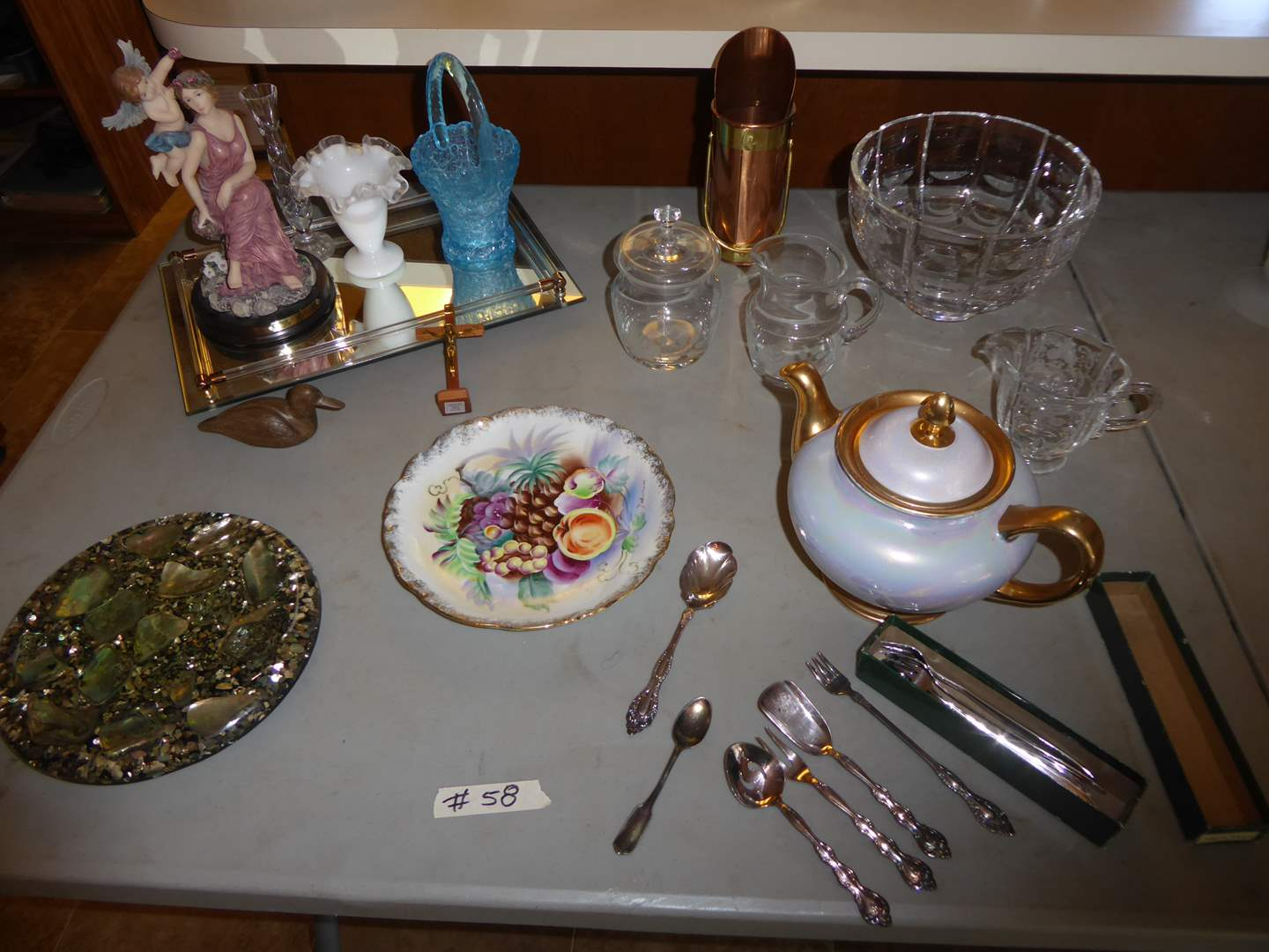 Lot # 58 - Eggshell Nautilus Tea Pot, Plated Silver & Other Collectibles  (main image)